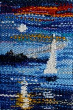 """Купить гобелен """"Голубая луна"""" - синий, миниатюра, гобелен ручной работы, морской пейзаж"""