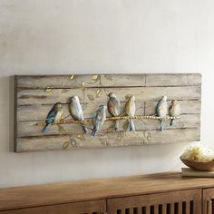 A flock of friendly warblers comes home to roost at your place. Our artwork& charming scene is painted on a weathered-wood background and would look perfect perched over a window where the sun streams in. Cute Dorm Rooms, Cool Rooms, Cheap Home Decor, Diy Home Decor, Home To Roost, Art Diy, Feather Art, Wood Background, Weathered Wood