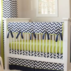 Navy and Citron Zig Zag Crib Rail Cover #carouseldesigns