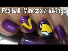 ♥hey guys I hope yall enjoy this design, sorry some of the video got cut out! I know I spelled Minnesota wrong in the video Ive been doin that all day but n. Football Nail Designs, Football Nails, Football Baby, Football Rules, Vikings Football, Minnesota Vikings, Toe Nail Art, Toe Nails, Nail Art Designs