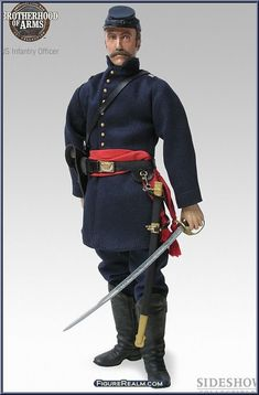 Infantry Officer, Army of The Potomac, ca. Brotherhood of Arms Series ; Image from FigureRealm. Union Army, Gibson Girl, American Civil War, Downton Abbey, Gi Joe, Belle Epoque, Wwi, Titanic, Flags