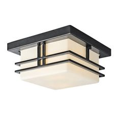 "Kichler ceiling light, 5.8""h x 11.5""w, two 100 watt bulbs, UL wet.  (Has to be unscrewed/disassembled to replace bulbs.)"