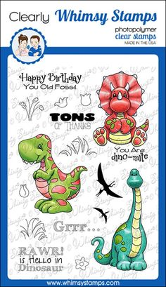 """Clearly Whimsy Stamps Collection """"Dinosaur Friends"""" illustrated by Crissy Armstrong for Whimsy Stamps. High quality photopolymer clear stamps, use with an acrylic block Approximate size in inches: 4 x 6 polymer sheet. Whimsy Stamps, Digi Stamps, Stamp Making, Card Making, Dinosaur Cards, Flower Phone Wallpaper, Get Well Cards, Cookie Designs, Stamp Collecting"""