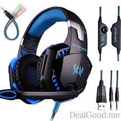 Gaming Headset with Mic for PCPS4Xbox OneOver-ear Headphones with Volume Control LED Light Cool Style StereoNoise Reduction for LaptopsSmartphoneComputer (Black & Blue)