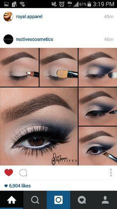 Navy blue                                                                       ... Navy Eye Makeup, Eye Makeup Tips, Prom Makeup, Smokey Eye Makeup, Makeup For Brown Eyes, Diy Makeup, Eyeshadow Makeup, Wedding Makeup, Beauty Makeup