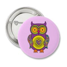 Purple Psychedelic Owl Pinback Button Badge