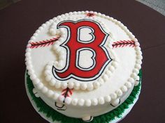 """This is a Boston Red Sox chocolate cake with bavariam cream filling, covered with BC. The """"B"""" I made using FBCT method. Thanks for looking. :)"""
