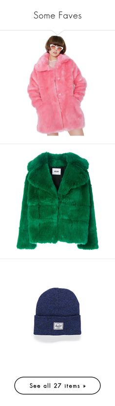 """""""Some Faves"""" by eewelsh ❤ liked on Polyvore featuring outerwear, coats, bear coat, pink coat, fur coat, lazy oaf, fuzzy coat, jackets, fur and green"""