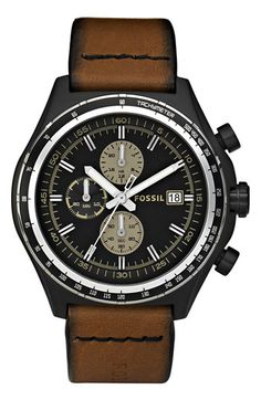 Fossil Chronograph Leather Strap Watch