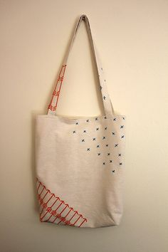 crosses and arrows tote - screen printed in bright orange and sky blue