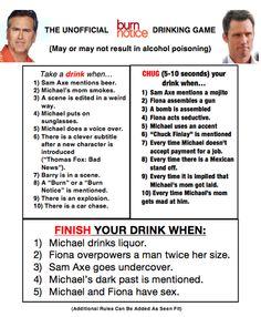 The Unofficial Burn Notice Drinking Game  (found from Hunter Keegan (@HunterKeegan) via Twicsy - The Twitter Pic Engine)
