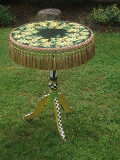 Hand Painted Pedestal Table by Michele Sprague Designs $ 169--, via Etsy.