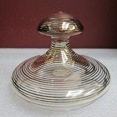 VINTAGE-CLEAR-amp-GOLD-GLASS-VANITY-SET-POWDER-JAR-BORSKE-SKLO-STYLE-ECHT-KRISTALL