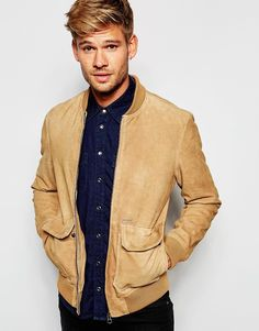 Image 1 of Pepe Jeans Sydow Brown Suede Bomber Jacket