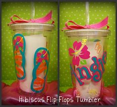 Part of my gift for my bridesmaids and maybe to go into my guest OOT Bag    Hibiscuc Flower and Flip Flop 16oz Personalized by lyricalletters, $15.00
