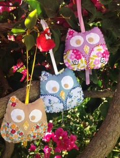 small felt and fabric owls 3 pounds each + postage