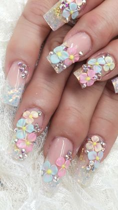 dont care for the clear nails (looks to be clear ) but it is very pretty Fancy Nails, Bling Nails, Swag Nails, Pretty Nails, 3d Nail Designs, Easter Nail Designs, Acrylic Nail Designs, Disney Acrylic Nails, Simple Acrylic Nails