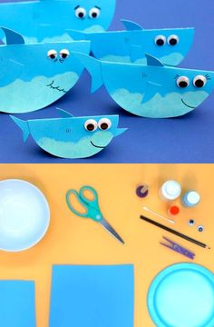Look at this adorable wobbling baby shark & family craft! Your kids will giggle and smile when playing with these! Watch the video for an easy tutorial on how to make this cool paper shark family. Enjoy and have fun! Toddler Arts And Crafts, Summer Crafts For Kids, Diy For Kids, Paper Crafts For Kids, Preschool Crafts, Paper Plate Art, Shark Craft, Sharks For Kids, Shark Family