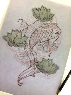 Carpa Feminina - Tattoo Sketch Koi Fish
