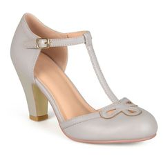 Women's Journee Collection T-Strap Round Toe Mary Jane Pumps - Grey 8