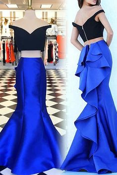 Two Piece Off The Shoulder Short Sleeves Tiered Royal Blue Mermaid Prom Dress, BW94211 on Luulla Royal Blue Evening Dress, Royal Blue Prom Dresses, Blue Evening Dresses, Prom Dresses 2017, Cheap Prom Dresses, Party Dresses, Prom Gowns, Blue Gown, Grad Dresses