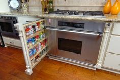 Kitchen inspiration! Interior design, kitchen inspiration, kitchen remodeling, love this spice rack pull out!