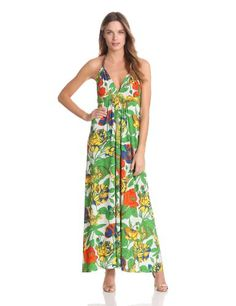 Tbags Los Angeles Women's Halter Printed Maxi « Clothing Impulse Women's Fashion Dresses, Casual Dresses, Short Dresses, Dresses Dresses, Summer Dresses For Women, Dress Summer, Maxi Outfits, Green Dress, Plus Size Fashion
