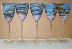INCREDIBLY Wonderful SET Statuesque STEVEN MASLACH 5 GORGEOUS Glass WINE GOBLETS