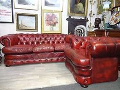 Ox Blood Chesterfield Leather Suite. In Excellent Condition. Huge cushions