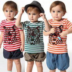 bebe animal tiger striped t-shirts + shorts baby boys toddler boy kids child children cotton clothing set babies products  $13.99 - 16.99