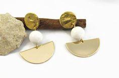 White earrings Clip on dangle earrings Geometric summer