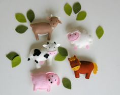 pattern felt ornaments 5 animals woodland mobile diy by TinyLuck