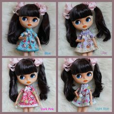 Four Colours Available - Cute Cupcake Dresses For Blythe - Outfit For Blythe, Blythe Dress, Azone, Pure neemo, Licca