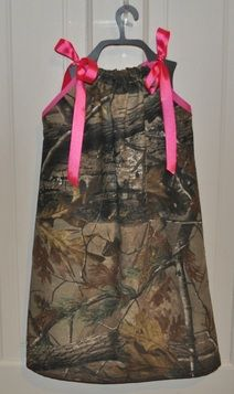 Camo w/ hot pink pillowcase dress!!! Would be good with bright orange ribbon too!