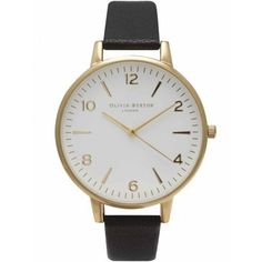 Olivia Burton Large White Face - Black & Gold (285 BRL) ❤ liked on Polyvore featuring jewelry, watches, oversized watches, olivia burton watches, olivia burton, gold jewellery and gold jewelry