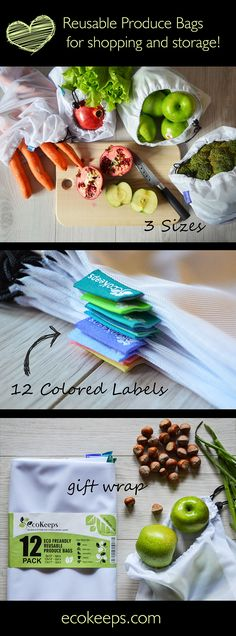 This pack of twelve mesh bags makes organizing your food and storage items a cinch. Each bag has a different color tag by size so you can quickly grab the bag you need and everything stays in its rightful place.  #reusable #grocery #bags #mesh #fabric #colorful #ecofriendly