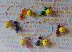 Emoji Wine Charms // Colorful Beaded // Gifts // Housewarming