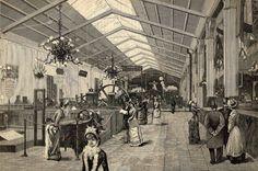 Torino, Esposizione 1884: Galleria dell'Elettricità. (Disegno di Dante Paolocci).