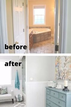 This old bathroom update is truly inspiring. See how she changed the layout, new tile floor, granite vanity top and new paint for this before and after bathroom renovation DIY. Diy Bathroom Decor, Budget Bathroom, Diy Home Decor, Rental Bathroom, Bathroom Makeovers, Master Bathroom, Painting Bathroom Cabinets, Apartment Needs, Luxury Vinyl Tile Flooring