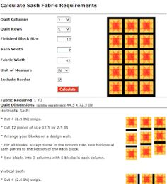MyWebQuilter.com: New Quilt Sash Calculator