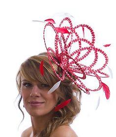 00f5397de07de Details about NEW Red   White Heart Pattern Fascinator Hat choose a  highlight feather colour