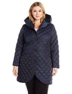 Lark & Ro Women's Plus Size Quilted Shawl Collar Hood Tulip Jacket, Mystic Blue, 3X #fallfashion -- Want to know more, click on the sponsored image.