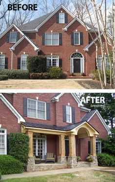 (Should have been painted white, in my opinion, but the porch addition is brilliant.) New half porch provides instant curb appeal and living space. Designed and built by Georgia Front Porch serving the north metro Atlanta area. Front Porch Remodel, House Front Porch, Front Porch Design, Front Porch Makeover, Home Exterior Makeover, Exterior Remodel, Porches, Porch Builders, Colonial House Exteriors