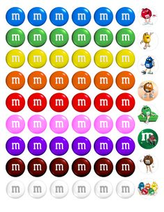 """MnMs Bottle cap images, high resolution formatted for printing on 8.5"""" x 11"""" page"""