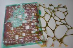 """More gelli plate print love and some handmade stencils and a link to a video tutorial by """"sweetpaganrose"""" on making your own stencils"""