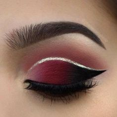 Crimson and Silver Eye Make-up