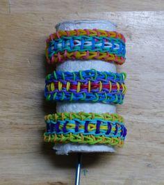 Fiesta rainbow loom bracelet - uses 4 pin bars Loom Band Bracelets, Rainbow Loom Bracelets, Loom Bands, Crazy Loom, Loom Love, Rainbow Loom Patterns, Love Rainbow, Rubber Bands, Bracelet Making