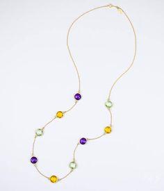Gold Cotton Filled Gift Box for Free Copper Color Tone Chain Brown Round Shape Semi Precious Stone Pendant Necklace