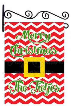 Christmas Flag, Santas Belt, Belt Flag, Personalized Flag by TietjeCreative on Etsy
