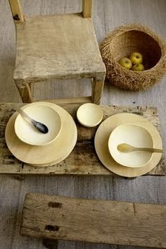 wood plates and utensils